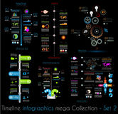 Linii czasu Infographic projekta szablony Ustawiają 2 czerń Fotografia Royalty Free