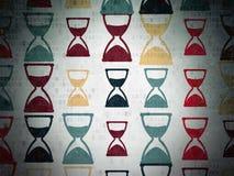 Linii czasu pojęcie: Hourglass ikony na Digital papierze Zdjęcia Royalty Free