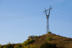 Linii energetycznej wierza Fotografia Royalty Free