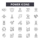 Linii energetycznych ikony, znaki, wektoru set, liniowy pojęcie, kontur ilustracja ilustracji