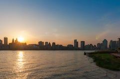 Linii horyzontu i krajobrazu sylwetka miasto, Shanghai Obrazy Royalty Free