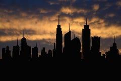 Linii horyzontu miasta idealna metropolia z zmierzchem, pejzaż miejski sylwetka, drapacze chmur ilustracyjni Obrazy Royalty Free