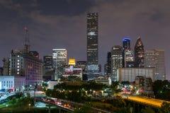 Linii horyzontu panorama W centrum Houston, Teksas nocą Zdjęcia Royalty Free