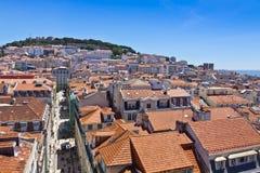 Linii horyzontu widok z lotu ptaka Lisbon, Portugalia Obrazy Royalty Free