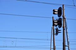 Linii kolejowej światła ruchu i zasięrzutne linie Zdjęcia Royalty Free