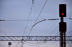 Linii kolejowej światła ruchu i zasięrzutne linie Obrazy Royalty Free