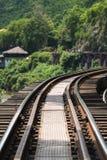 Linii kolejowej historii drewniana druga wojna światowa w rzecznym kwai Obrazy Royalty Free
