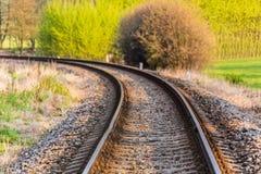 Linii kolejowej i wiosny greenery Obraz Royalty Free