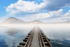 Linii kolejowej skrzyżowanie Zdjęcie Royalty Free
