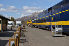 Linii kolejowej stacja w Denali parku narodowym obrazy stock