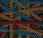 Linii kolejowej wektorowa tekstura, przecinający linii kolejowych tracs, kolej barwił deseniowej, sztachetowej drogi odizolowywaj royalty ilustracja