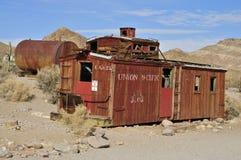 Linii kolejowych zafrachtowań furgon; Rhyolite miasto widmo, Nevada Zdjęcie Royalty Free