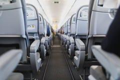 Linii lotniczej nawa w samolotowej kabinie i miejsce pasażera obrazy royalty free