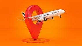 Linii lotniczej podróży pojęcie Lotniskowy pointer Samolot i szpilka odizolowywający na bielu ilustracja wektor