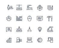 Linii Produkcyjnych ikony Przemys? maszynowa produkcja, fabryczna konwejer linia, automatyczny robota manipulant przemys?owy royalty ilustracja