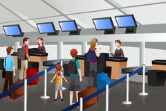 Lining up at the check-in counter in the airport. A vector illustration of passengers lining up at check-in counter Royalty Free Stock Photos