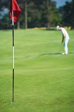 Lining up putt Royalty Free Stock Images
