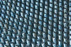 Lining up screw. Hexagon white screw line up on table Stock Images
