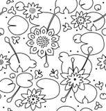 Liniowa bezszwowa kwiecista tekstura z kwiatami, wodne leluje, lotos, natura elegancki wzór Obrazy Stock