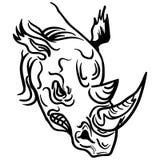Liniowa farba remisu nosorożec głowy wektoru ilustracja Zdjęcie Stock