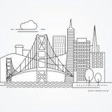 Liniowa ilustracja San Fransisco, usa Mieszkania jeden kreskowy styl Wielki punkt zwrotny - Golden Gate Bridge Zdjęcia Stock