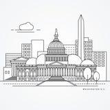 Liniowa ilustracja Washinton DC, USA mieszkania jeden kreskowy styl Wielki punkt zwrotny - Capitol royalty ilustracja