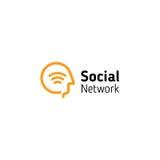 Liniowa ludzka głowa z wifi sygnału symbolem inside Abstrakcjonistyczny Ogólnospołeczny sieć wektoru logo royalty ilustracja