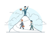 Liniowa Płaska osiągnięcie biznesowego mężczyzna góry flaga ilustracja wektor