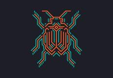 Liniowa pluskwa w techno stylu Wektorowa ilustracja na czarnym tle Zdjęcie Royalty Free