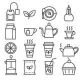 Liniowe herbaciane ikony ustawiać royalty ilustracja