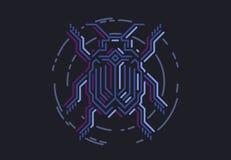 Liniowego ui interfejsu błękitna pluskwa w techno stylu Wektorowa ilustracja na czarnym tle Fotografia Royalty Free