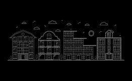 Liniowi budynki na ulicie wektor Obrazy Stock