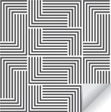 Liniowy geometryczny wektoru wzór, wielostrzałowa lampas linia i mozaika prążkowani kwadraty, Elegancki monochrom ilustracji