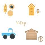 Liniowy ikony lato w wiosce Obraz Royalty Free