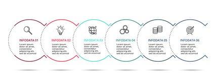 Liniowy infographic projekta wektor i marketingowe ikony dla diagrama, wykresu, prezentacji i mapy, Poj?cie z 6 opcjami ilustracja wektor