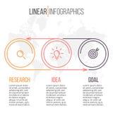 Liniowy infographics Linia czasu z 3 krokami Obrazy Royalty Free