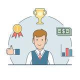 Liniowy Płaski biznesowego mężczyzna trofeum filiżanki pieniądze wektor Zdjęcie Stock