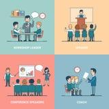 Liniowy Płaski Biznesowy stażowy mówcy trenera lider royalty ilustracja
