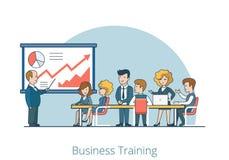 Liniowy Płaski biznesu trenera szkolenia materiału wektor Obraz Royalty Free