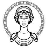 Liniowy portret młoda Grecka kobieta z tradycyjną fryzurą royalty ilustracja