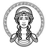 Liniowy portret młoda Grecka kobieta z tradycyjną fryzurą ilustracji
