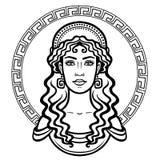 Liniowy portret młoda Grecka kobieta z tradycyjną fryzurą ilustracja wektor