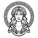 Liniowy portret młoda Grecka kobieta z tradycyjną fryzurą okrąg dekoracyjny Zdjęcie Royalty Free