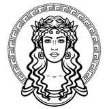 Liniowy portret młoda Grecka kobieta z tradycyjną fryzurą okrąg dekoracyjny Obrazy Stock