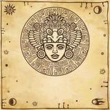Liniowy rysunek: dekoracyjny wizerunek antyczny Indiański bóstwo Astronautyczni symbole Zdjęcia Stock