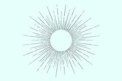 Liniowy rysunek lekcy promienie, sunburst Obraz Stock