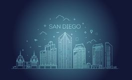 Liniowy San Diego miasta linia horyzontu wektoru tło ilustracji