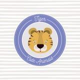 Liniowy tło z kolor ramą dekoracyjną i twarzy zwierząt tygrysim ślicznym tekstem Fotografia Stock