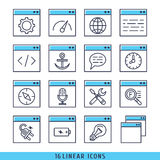 16 liniowych ikon ustawiający wektorowy ilustracyjny błękit Obrazy Stock