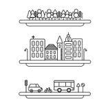 Liniowych krajobrazowych elementów wektorowe ikony ustawiać Kreskowi drzewa, wektorowa pejzaż miejski kolekcja, droga set ilustracja wektor
